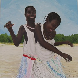 Ana Maria Garcia Ruiz: 'Pata Pata', 2011 Oil Painting, Figurative. Artist Description:  Pata Pata  Oil painting on canvas 50x50cm, 2011, african women girls for colletion women of the world. Africa.   ...