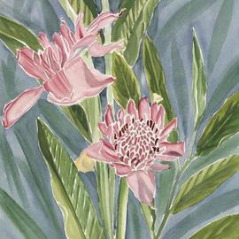 Pink Torch Lillies By Anji Worton