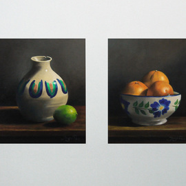 Jorge Paz: 'still life', 2018 Oil Painting, Still Life. Artist Description: Two oil paintings on canvas 10 X 12 inches each mounted on light grey cardboard...