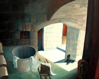 Anna Maria Grill-r.: 'Dont cry', 2005 Oil Painting, Architecture.    Lonely, house, darkness, mystery, child, doll, cellar, light  ...