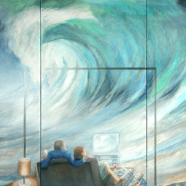 Anna Maria Grill-r.: 'Floot', 2006 Oil Painting, Zeitgeist. Artist Description:  wave, television, tsunami, family,   house, ocean, blue, horizont, cataclysmwater.     ...