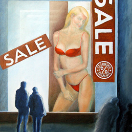 Anna Maria Grill-r.: 'SALE', 2006 Oil Painting, Zeitgeist. Artist Description:  nude, people, night, business, shop, shop window, light, town ...