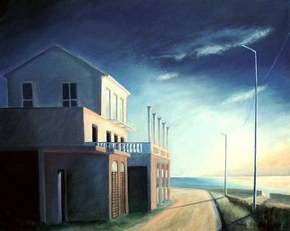 Anna Maria Grill-r.: 'Verlassenes Haus', 2005 Oil Painting, Architecture.  Lonely, blue, sea, ocean, house, way ...
