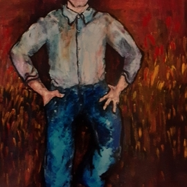 Anna-marie Lopez: 'farmer dad', 2001 Acrylic Painting, Farm. Artist Description: Dad Farmer to AF Officer...