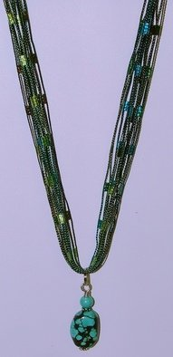 Anna Peterson: 'Turquoise fabric', 2008 Fiber, Fashion.  Seven delicate strands of teal and green fabric host a turquoise and sterling pendant. ...