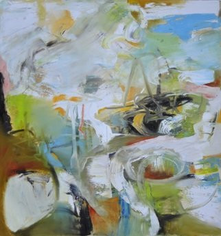Anne Schwartz: '329 winter in positano', 2018 Oil Painting, Abstract. Artist Description: Medium sizeWhiteBlueGreenBrownBlackFine artContemporaryCool colors...
