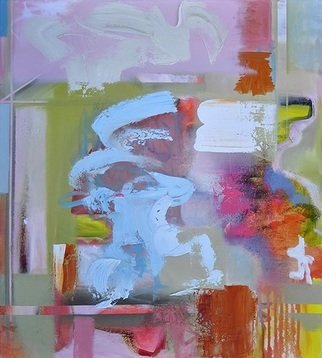 Anne Schwartz: '330 swimming in sorrento', 2018 Oil Painting, Abstract. Artist Description: Bright colors, contemporary, blue, pink, white, orange, texture, medium size...
