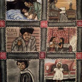 Nelson-matheson Annette: 'In Time', 2009 Oil Painting, Figurative. Artist Description:  An evolution in time painting in patches of a quilt. ...