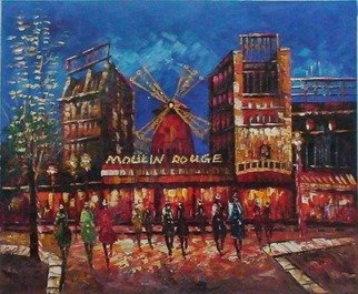 Annie Peng: 'Paris Night', 2008 Oil Painting, Landscape.  A warm night in Paris, cityscape of Paris stree, in impressionism style...