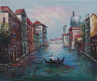 Annie Peng: 'Venice Scene', 2008 Oil Painting, Landscape.  Relaxing Venice, boat, people, house beside the river, what a relaxing scene. landspcape in impressionism style ...