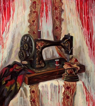 Anna Reztsova: 'Still life with blood', 2015 Oil Painting, Psychology. Artist Description: sewing- machine, red, vintage...