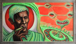 Anna Reztsova: 'men from another planet', 2003 Acrylic Painting, Psychedelic. portrate, futurism. space...