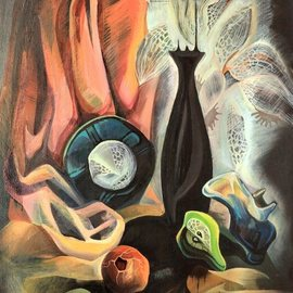 Anna Reztsova: 'still life with pomegranate', 2004 Oil Painting, Psychedelic. Artist Description:  pomegranate...