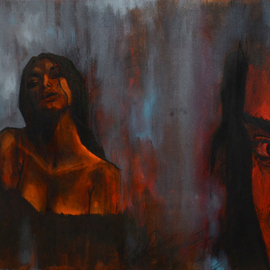 Aazaad Prerna: 'PIPASA', 2015 Acrylic Painting, Figurative. Artist Description:  woman, girl, lady, red, erotic, beautiful ...