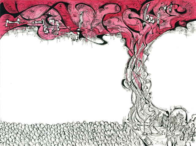 Antony Hollums  'Band Storm', created in 2011, Original Drawing Pen.