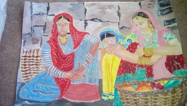 Anuradha Swaminathan: indian vegetable sellers, 2017 Acrylic Painting