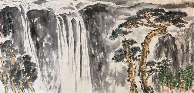Chongwu Ao  'Sh56 Pine Trees And Water', created in 2020, Original Painting Ink.