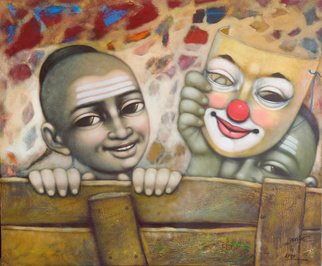 Pramod Apet: 'mask', 2018 Acrylic Painting, Figurative. Beautiful expression and smiling faces,Childhood memory...