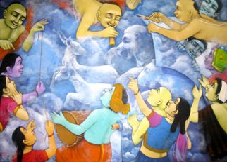 Pramod Apet: 'my dream', 2014 Acrylic Painting, Figurative.                          Indian, child, music, figurative, night, lamp, man, love, boy, girl, smil, dream, smil, love, ganesh, moon, music, party, world, game, window, search    acrylic on canvaschild hood indian acrylic on canvaschild hood     art, painting, figurative, acrylic, canvas, Indian, boy, girl, latter, love, expression, 60