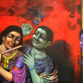 Pramod Apet: 'radha', 2017 Acrylic Painting, Figurative. Artist Description: beautiful expression, boy, friends, noughty, smiling faces, acrylic , indian art, playing, nice color, child hood, figurative, children, decoration, house, happy, festival, Radha, Krishna, love, lovely...
