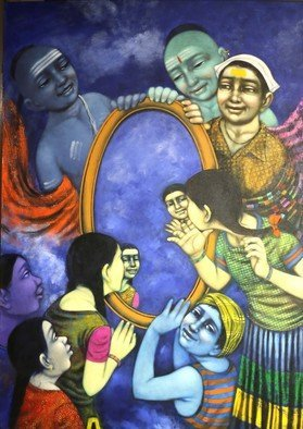 Pramod Apet: 'the mirror', 2017 Acrylic Painting, Figurative. Artist Description: beautiful expression, boy, friends, noughty, smiling faces, acrylic , indian art, playing, nice color, child hood, figurative, children, decoration, house, happy, festival...