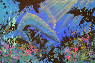 Acrylic Painting by Environmental Artist Apollo titled: Abstractions of a Blue Whale, 2014
