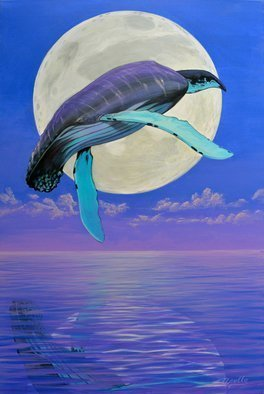 Environmental Artist Apollo Artwork And the Whale Jumped Over the Moon, 2009 Acrylic Painting, Fish