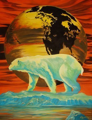 Environmental Artist Apollo: 'Barely Global Warming', 2010 Acrylic Painting, Conceptual.  This Earth Day painting by Apollo one of worlds leading Environmental Artists is designed as a conceptual warning that just a few degrees can make. the last polar bear stands in front of a world transformed by the loss of the polar cap and tectonic displacement.   ...