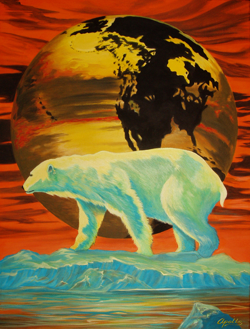 Environmental Artist Apollo  'Barely Global Warming', created in 2010, Original Mixed Media.