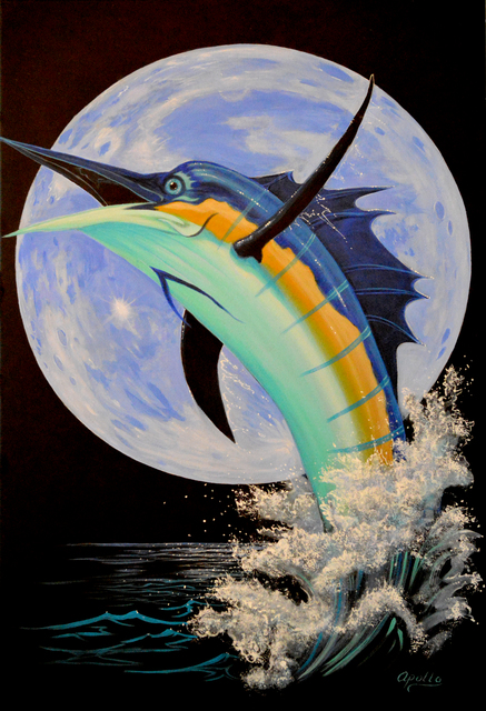 Environmental Artist Apollo  'Blue Marlin Moon', created in 2014, Original Mixed Media.