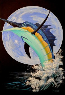 Environmental Artist Apollo: 'Blue Marlin Moon', 2011 Acrylic Painting, Fish.     Beautiful Blue marlin against a Blue Moon by Internationally renown Environmental Artist Apollo.Please do not confuse Apollo's with derivatives by other artists. Apollo' s art is unique. Apollo has been painting dolphins and whales since 1980 and his work has been use by several fortune 500  companies  ...