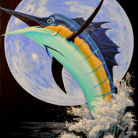 Environmental Artist Apollo: 'Blue Marlin Moon', 2011 Acrylic Painting, Fish. Artist Description:     Beautiful Blue marlin against a Blue Moon by Internationally renown Environmental Artist Apollo.Please do not confuse Apollo's with derivatives by other artists. Apollo' s art is unique. Apollo has been painting dolphins and whales since 1980 and his work has been use by several fortune 500  ...