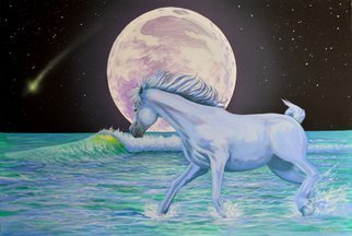Environmental Artist Apollo: 'Comet Wave Mustang Moon', 2015 Acrylic Painting, Animals. Artist Description: Comet Wave Mustang Moonby Apollo, World Renown Environmental Artist. A White Wild Mustang takes a romp through the surf against a full moon as a translucent wave breaks in the distanceThis beautiful painting is looking for a home. Apollo will donate a percentage of the sale to Environmental ...