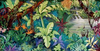 Environmental Artist Apollo: 'Hiking Thru Hana', 2001 Acrylic Painting, Fish.