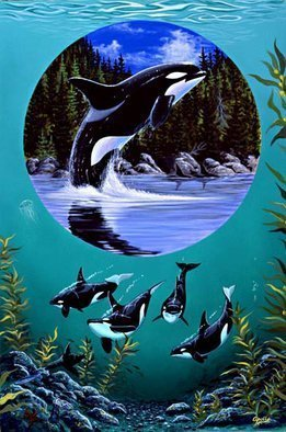 Animals Acrylic Painting by Environmental Artist Apollo Title: Leap of Freedom Circle of life series, created in 1993