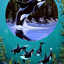 Environmental Artist Apollo Artwork Leap of Freedom Circle of life series, 1993 Acrylic Painting, Animals