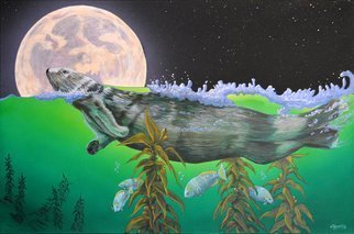 Environmental Artist Apollo: 'Moonlight Swim Monterey Bay', 2014 Acrylic Painting, Nature. Artist Description: