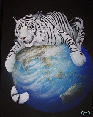Environmental Artist Apollo: 'Protecting the Planet', 2010 Acrylic Painting, Conceptual.  World Renown Environmental Apollo Celebrates Chinese New Years and Earth day at the same time. A white tiger symbolically embraces the planet earth. This is one of two images celebrating the year of the Tiger.  ...
