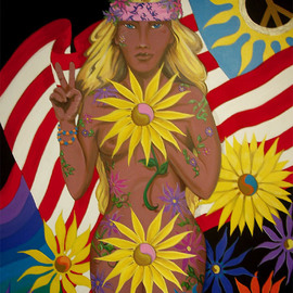 Environmental Artist Apollo: 'Remember Miss Liberty', 2008 Acrylic Painting, Activism. Artist Description:  This original was created in the festive spirit of Woodstock. 40 years ago, 500,000 young people gathered for three days of Peace, Love and Rock n' Roll. A beautiful moment in Time. I have added an extra flower in photoshop. Not on originalThis painting will be ...