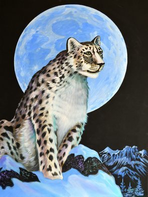 Environmental Artist Apollo: 'Silent Sentinel', 2011 Acrylic Painting, Animals. Artist Description:  Silent Sentinelby Apollo, World Renown Environmental ArtistA Snow Leopard stand guard in High in the frozen wilderness of Central Asia. This majestic sentinel stands guard over his frozen domain....