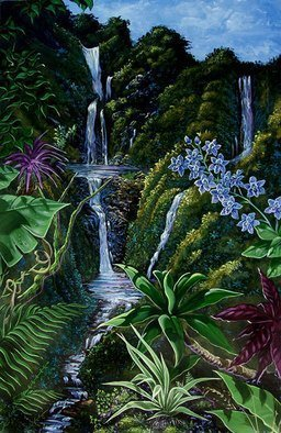 Environmental Artist Apollo: 'Tranquil Thoughts', 2001 Acrylic Painting, Scenic.  One of my favorite pastimes is hiking through the Tropical Rain Forest, never knowing what spectacular view is just ahead. ...
