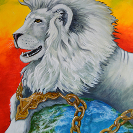 Environmental Artist Apollo Artwork White Lion in Chains, 2016 Acrylic Painting, Animals
