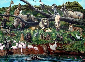 Animals Acrylic Painting by Environmental Artist Apollo Title: Wild in Paradise , created in 1995