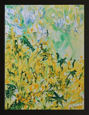 Environmental Artist Apollo: 'field of greens', 2017 Acrylic Painting, Abstract. Artist Description: this abstract impressionistic painting lets your mind wander through a field of wildflowers on a sunny day...