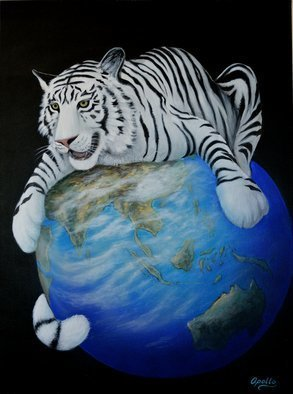 Environmental Artist Apollo: 'protecting the planet', 2010 Acrylic Painting, Animals. Artist Description: white tiger, environmental art, eco art, art of apollo, apollo environmental  artist...