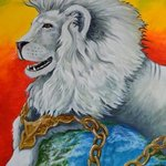 white lion in chains By Environmental Artist Apollo