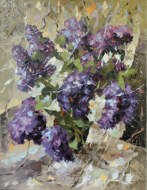 Ara Ghevondyan  'Lilacs', created in 2016, Original Painting Oil.