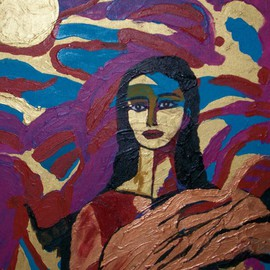 Archna Jaideep Singh: 'Awakening', 2007 Acrylic Painting, Figurative. Artist Description:   The composition comprises acrylic paints on canvas. The myriad colours portray a successful journey from confusion to awakening. The posture and facial expression denote an innocent calmness. ...