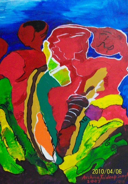 Archna Jaideep Singh  'Colourful Bonding', created in 2007, Original Painting Oil.
