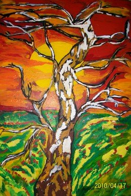 Archna Jaideep Singh: 'Sunrise', 2008 Acrylic Painting, Scenic.  The composition comprises acrylic paints on canvas and reflects the intense relationship between the sun and the earth.  ...